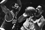 Wilt Chamberlain and Bill Russell in the 1969 NBA Finals. (AP file photo)