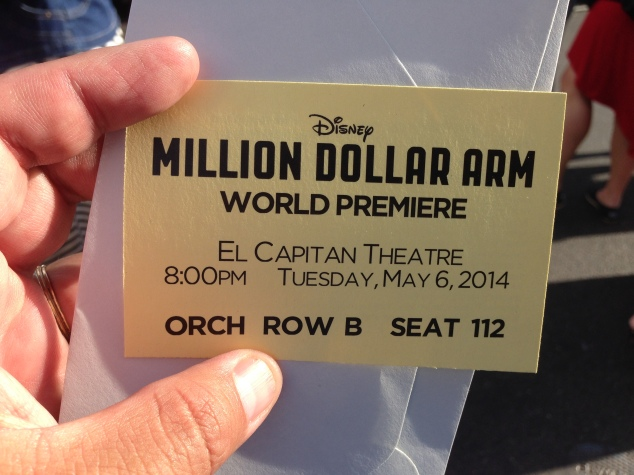 Ticket to get in to the world premiere of Million Dollar Arm