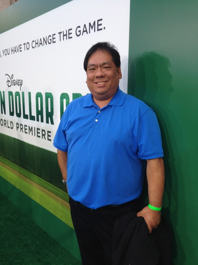 "On the ""green"" carpet for the world premiere of Million Dollar Arm"